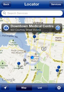 BC Health Service Locator screenshot